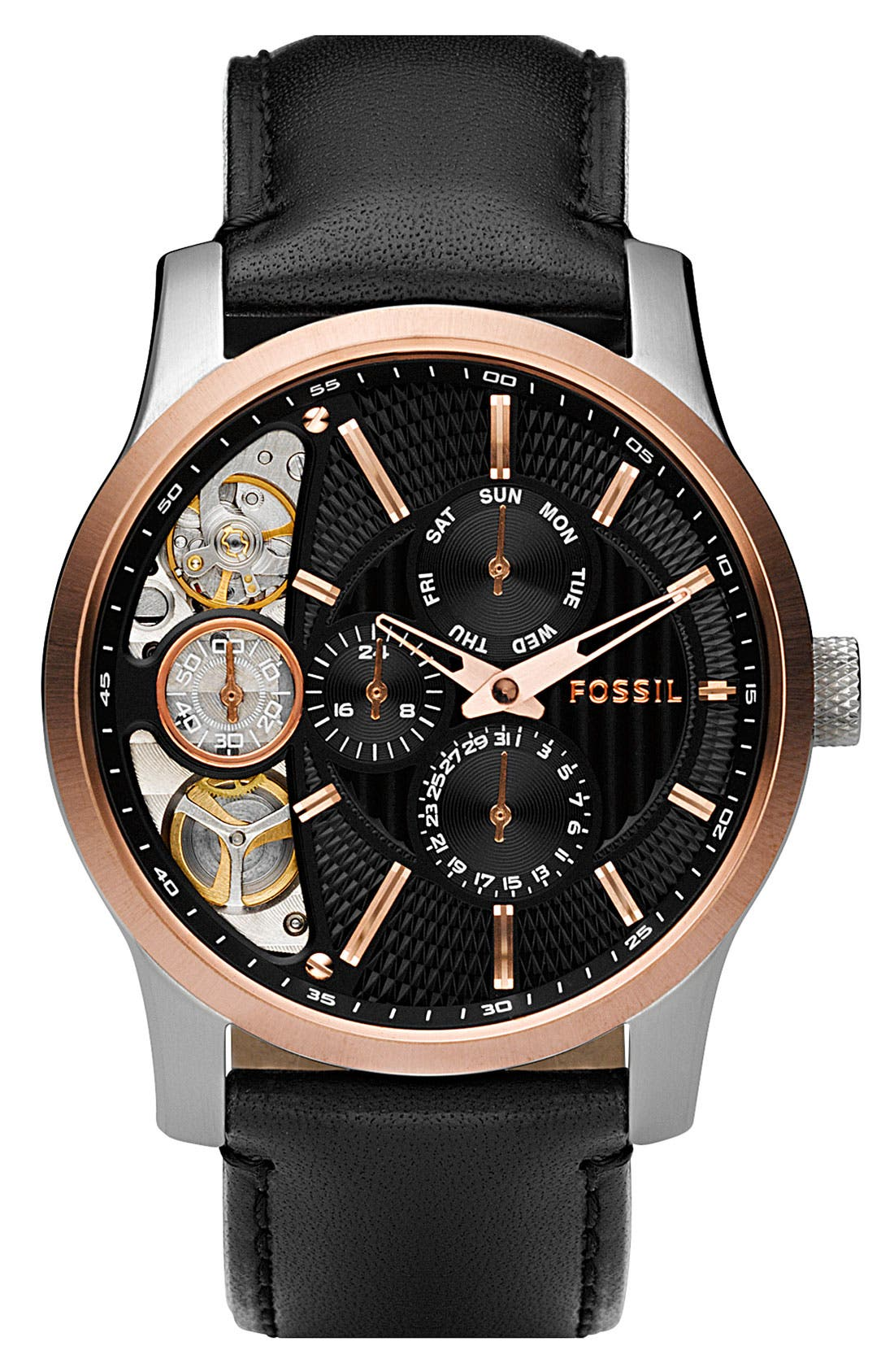 Main Image - Fossil 'Twist' Automatic Leather Strap Watch, 42mm