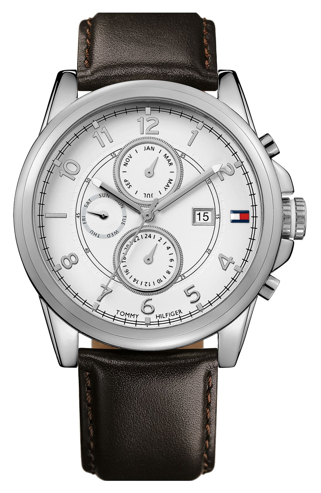 Alternate Image 1 Selected - Tommy Hilfiger Multi Eye Leather Strap Watch, 46mm
