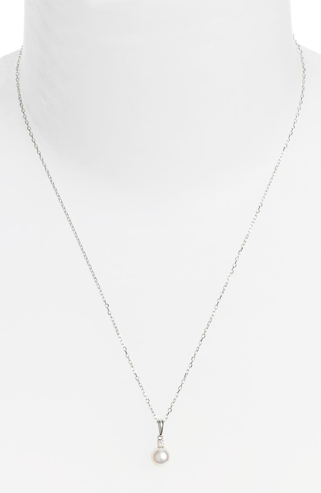 Alternate Image 1 Selected - Mikimoto Diamond & Akoya Cultured Pearl Pendant Necklace