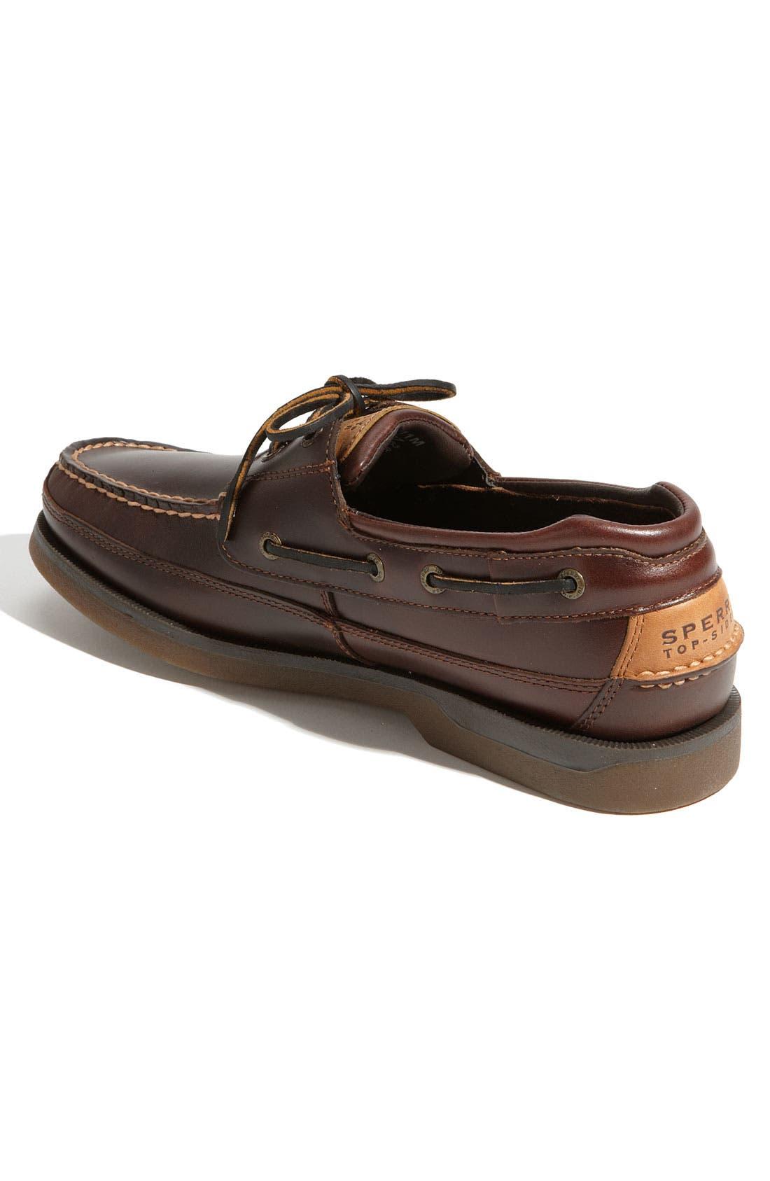 Top-Sider<sup>®</sup> 'Mako Two-Eye Canoe Moc' Boat Shoe,                             Alternate thumbnail 3, color,                             Dark Brown