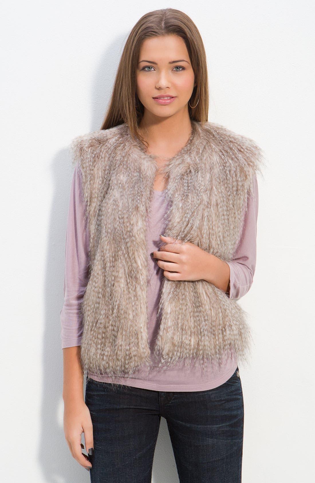 Alternate Image 1 Selected - Collection B Faux Arctic Fur Vest (Juniors)