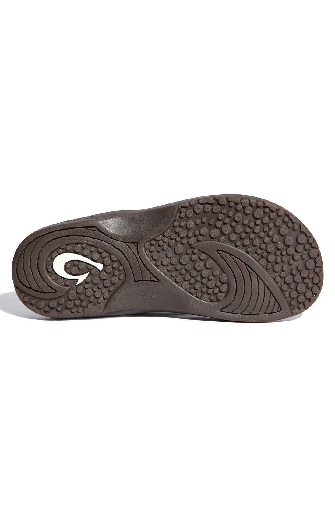 Hokua Flip Flop,                             Alternate thumbnail 4, color,                             Dark Java Faux Leather