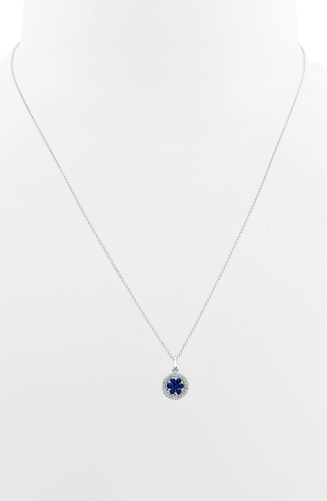 Alternate Image 1 Selected - Bony Levy Flower Button Diamond & Gemstone Pendant Necklace (Nordstrom Exclusive)