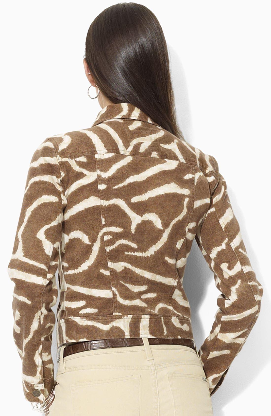 Alternate Image 2  - Lauren by Ralph Lauren Print Denim Jacket