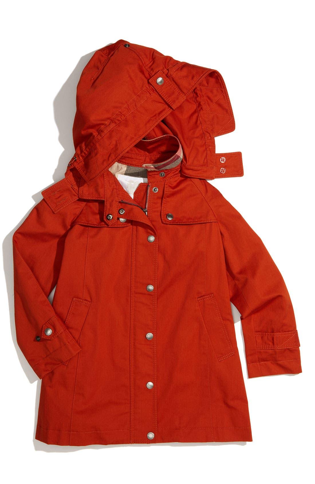 Alternate Image 1 Selected - Burberry Hooded Trench Coat (Little Girls)