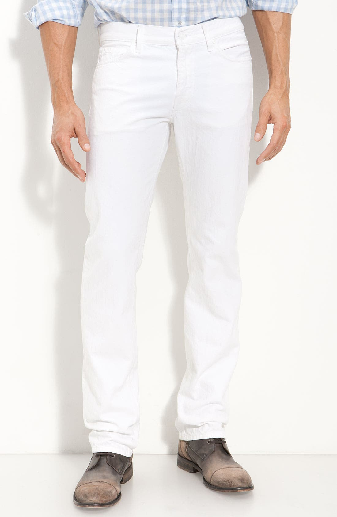 Alternate Image 1 Selected - 7 For All Mankind® 'Slimmy' Slim Straight Leg Jeans (Clean White Wash)