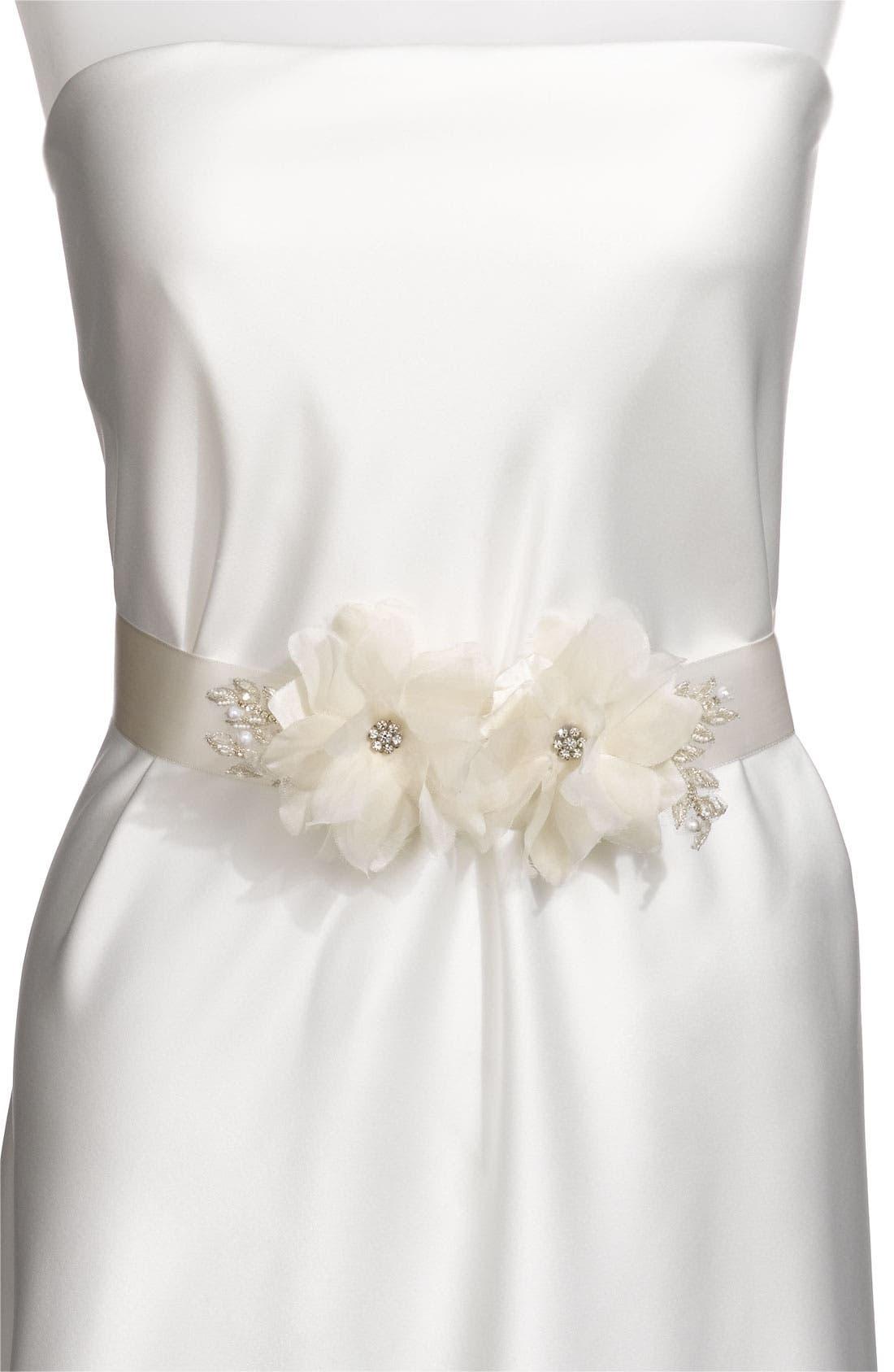 Main Image - Nina Satin Sash & Floral Appliqué Pin