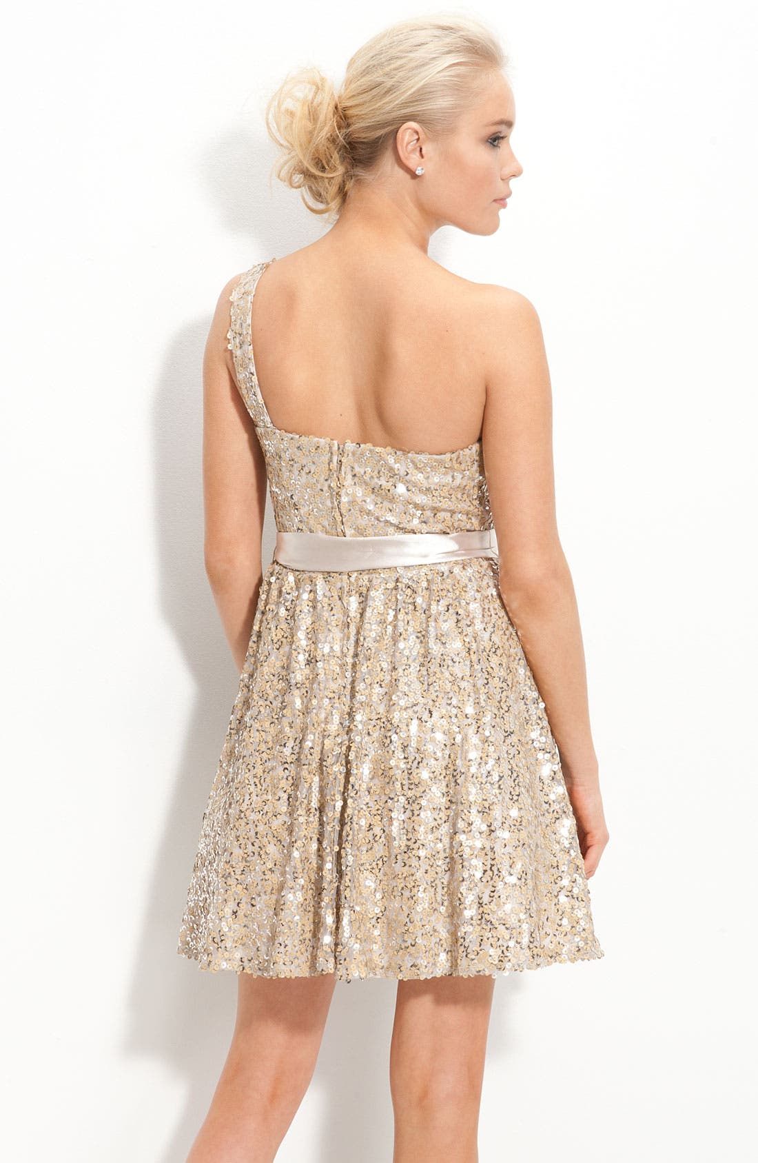 Alternate Image 2  - Way-In One Shoulder Sequin Sash Dress (Juniors)