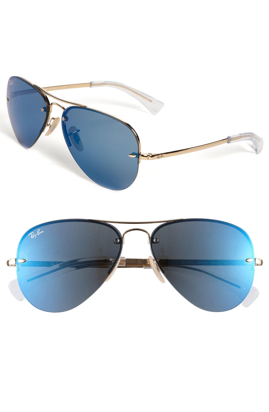 Alternate Image 1 Selected - Ray-Ban 56mm Semi Rimless Lightweight Aviator Sunglasses