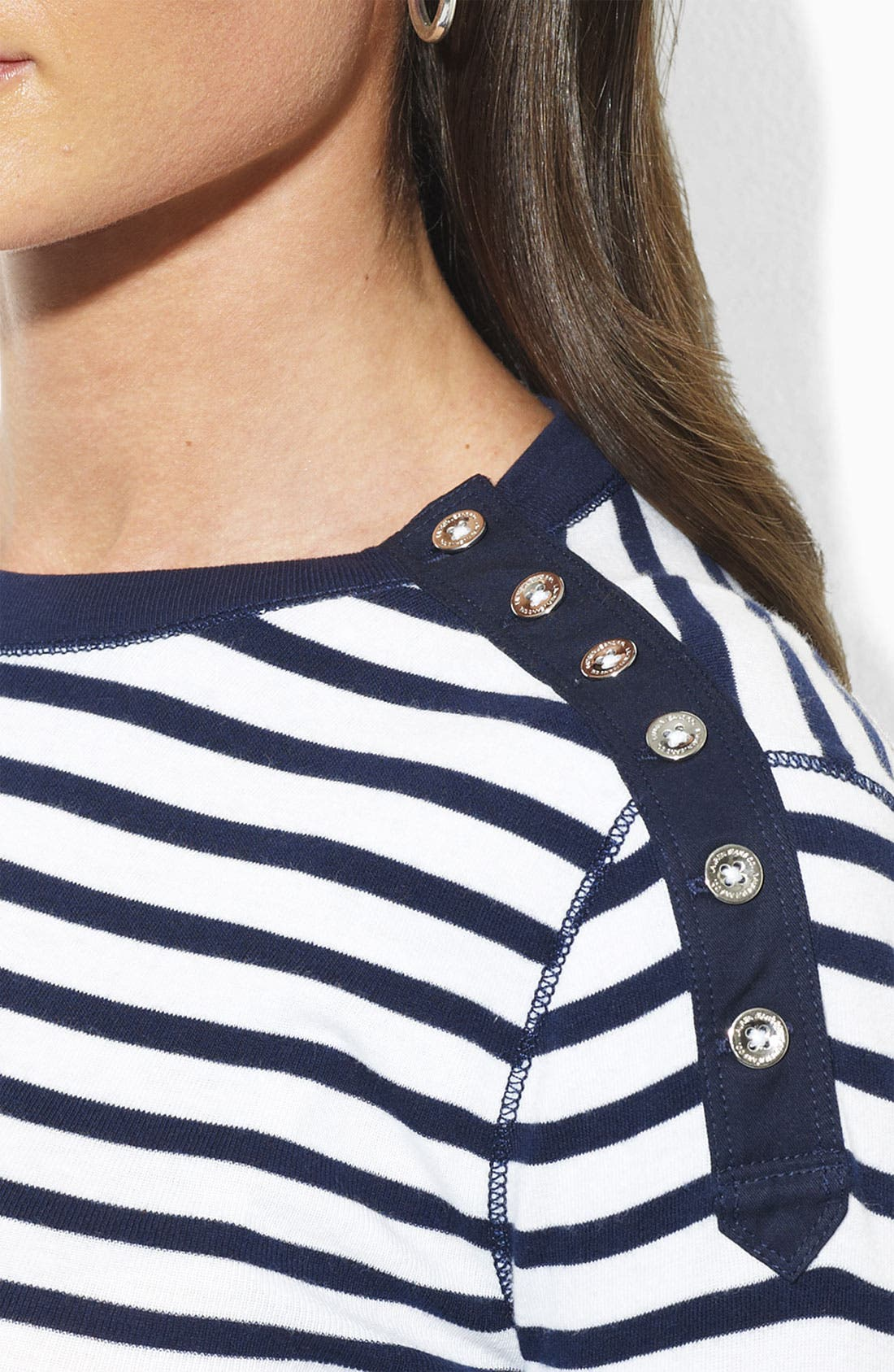 Alternate Image 2  - Lauren by Ralph Lauren Button Shoulder Stripe Tee