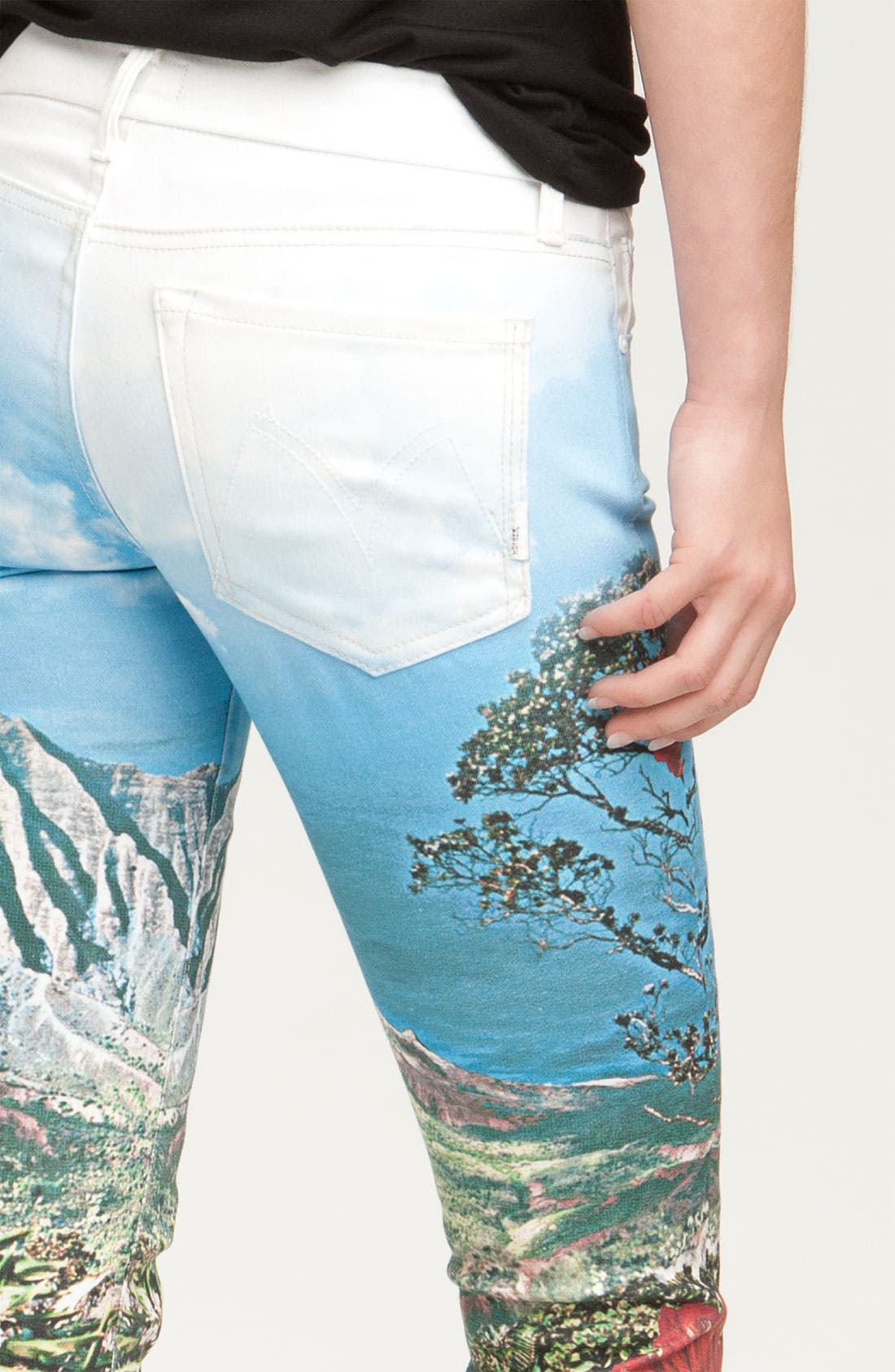 Alternate Image 3  - MOTHER 'The Looker' Print Skinny Stretch Denim Jeans