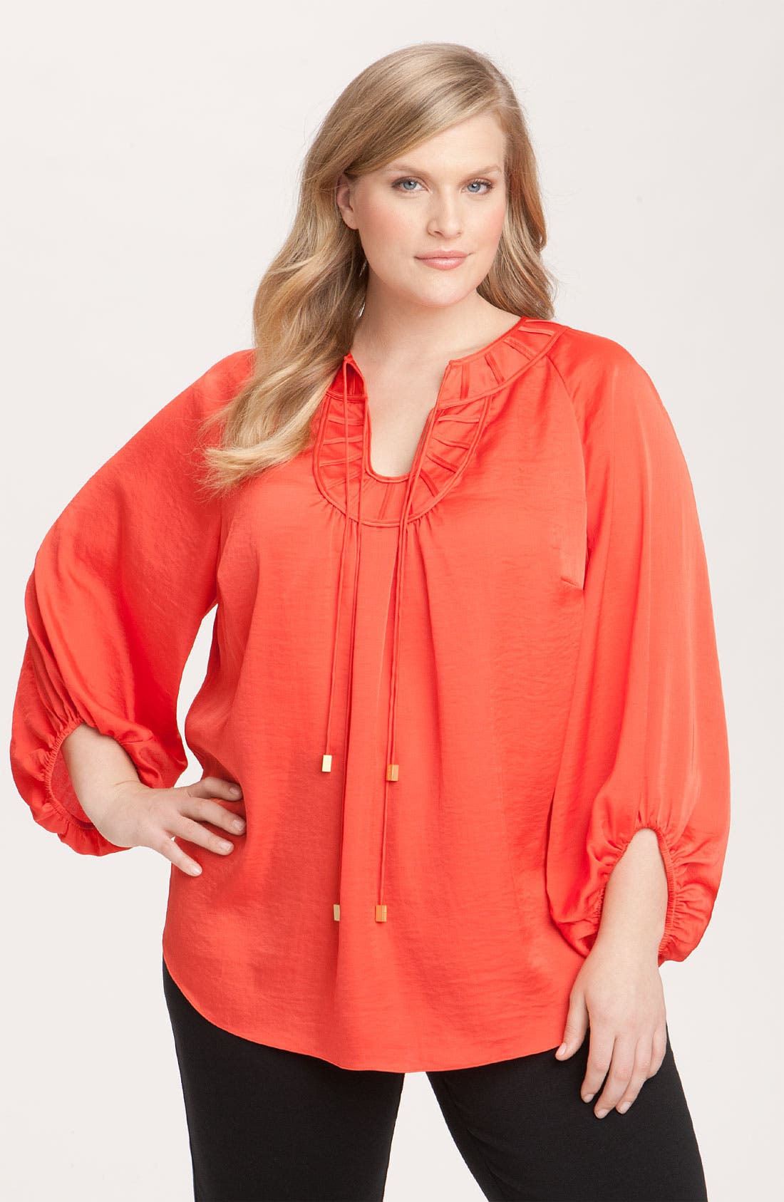 Alternate Image 1 Selected - Vince Camuto Tie Neck Peasant Blouse (Plus)