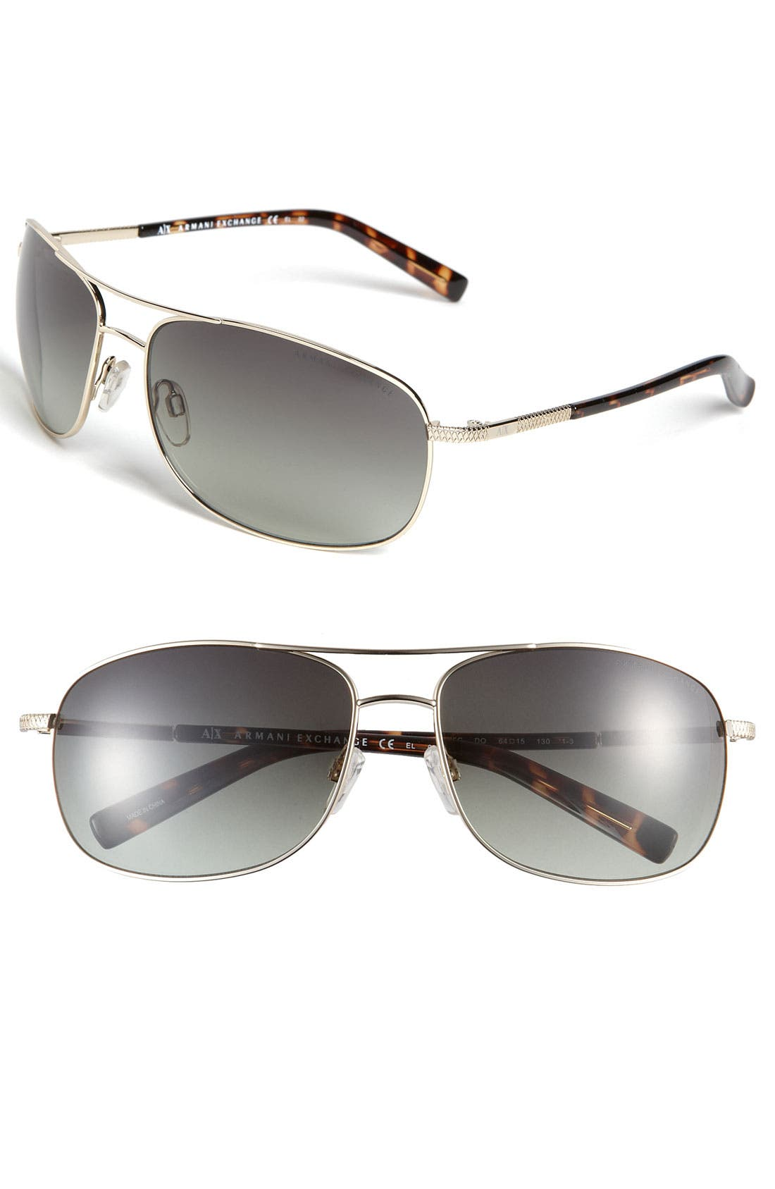 Main Image - AX Armani Exchange Metal Navigator Sunglasses