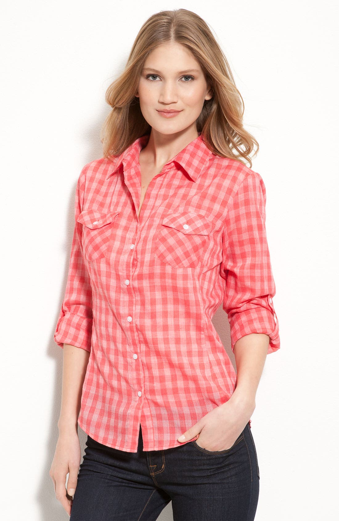 Main Image - Sandra Ingrish Roll Sleeve Gingham Shirt (Petite)
