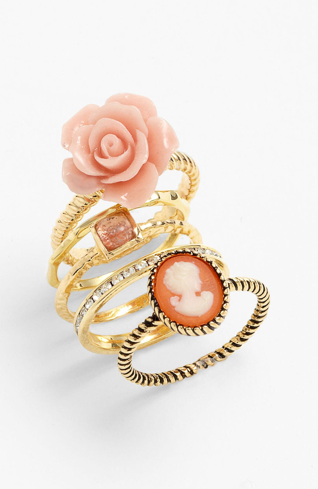 Main Image - Ariella Collection Floral & Cameo Stack Rings (Set of 5) (Nordstrom Exclusive)