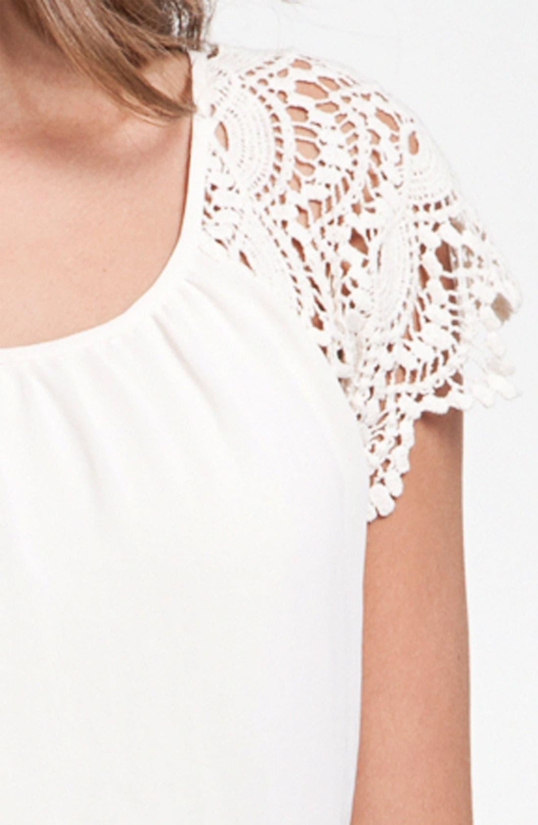 Alternate Image 3  - Lush Crochet Sleeve Blouson Dress (Juniors)