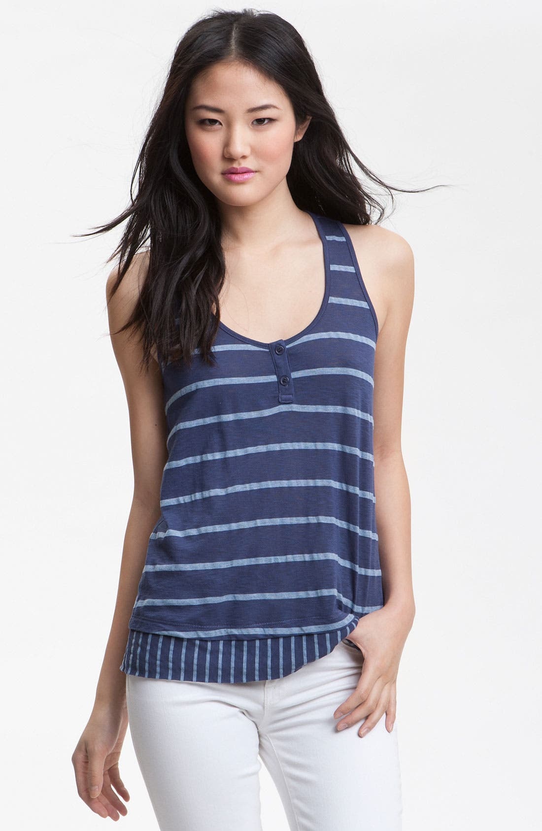 Alternate Image 1 Selected - Splendid Contrast Stripe Hem Tank