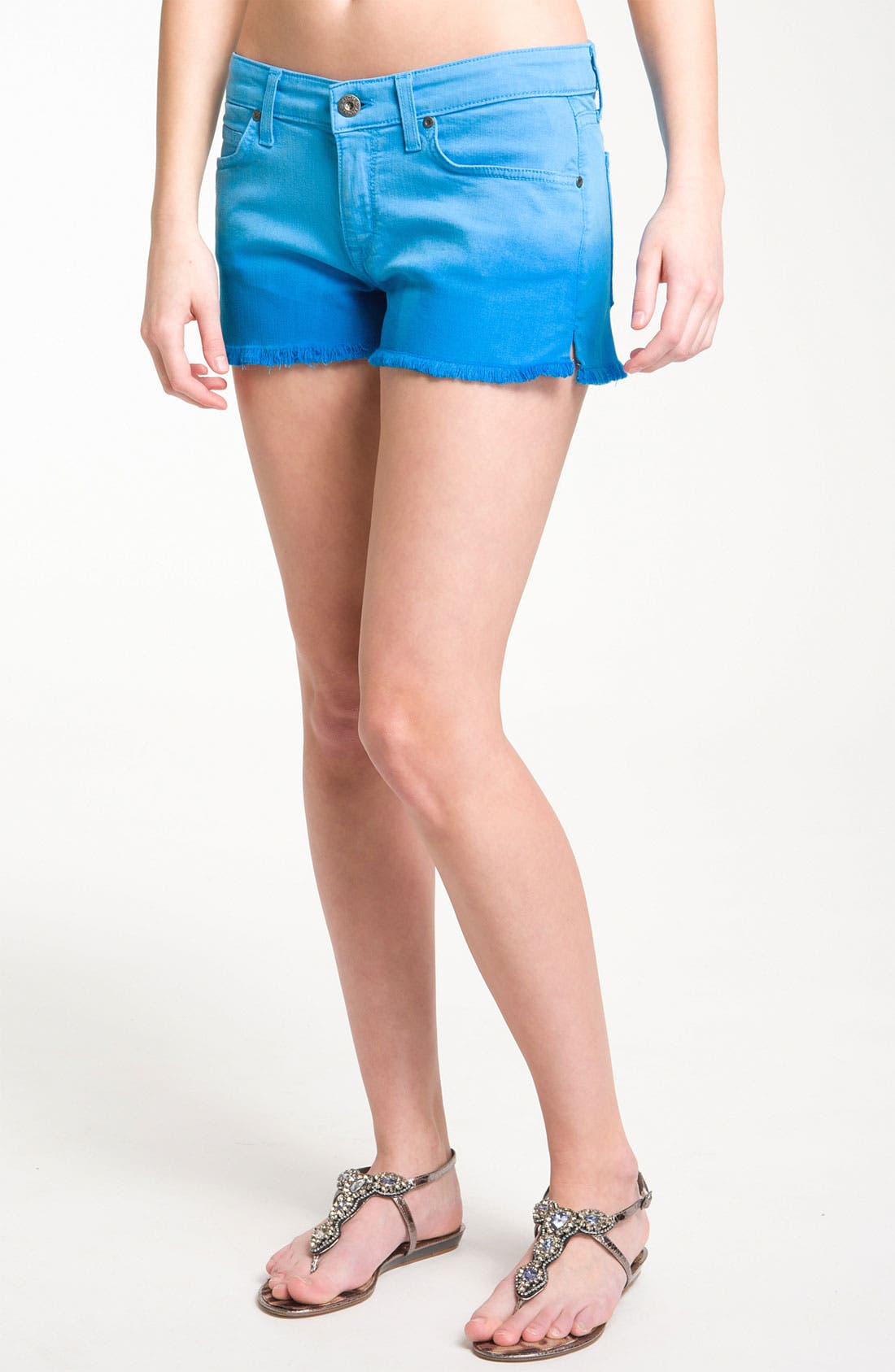 Main Image - Rich & Skinny 'Venice' Ombré Denim Cutoff Shorts (Dipped Blue)