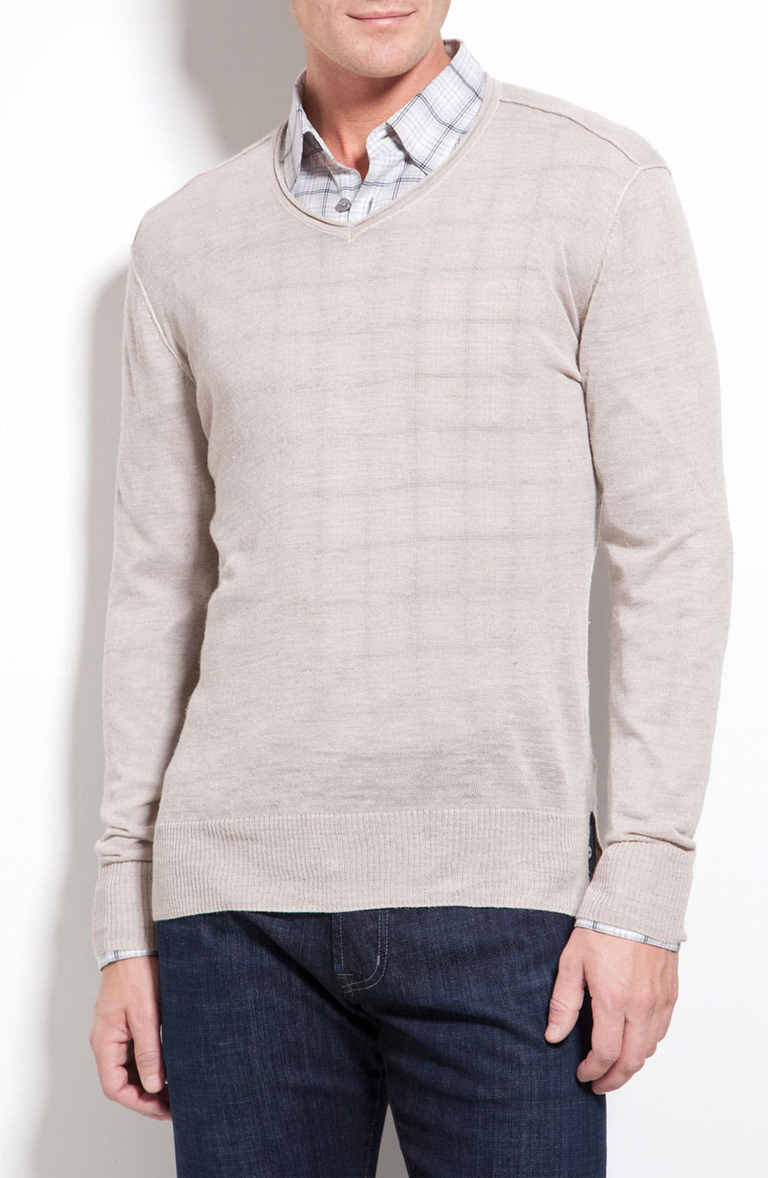 Alternate Image 1 Selected - John Varvatos Star USA Ribbed V-Neck Sweater