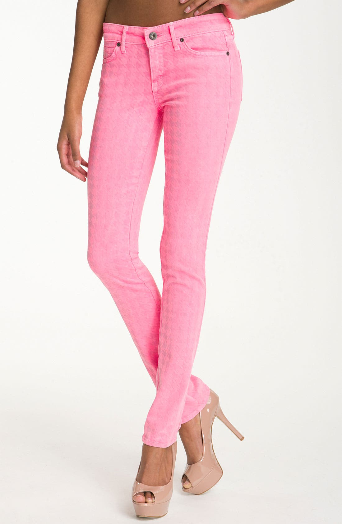 Main Image - Rich & Skinny 'Legacy' Houndstooth Print Skinny Jeans (Neon Pink)