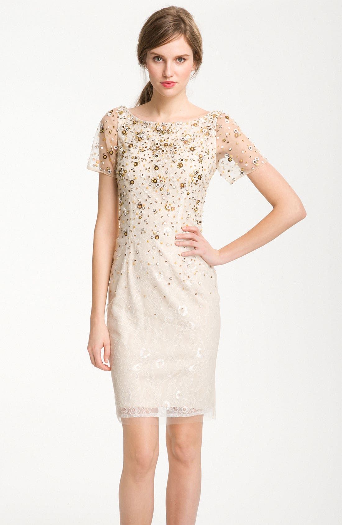 Main Image - Kathy Hilton Sheer Sleeve Sequin Cocktail Dress