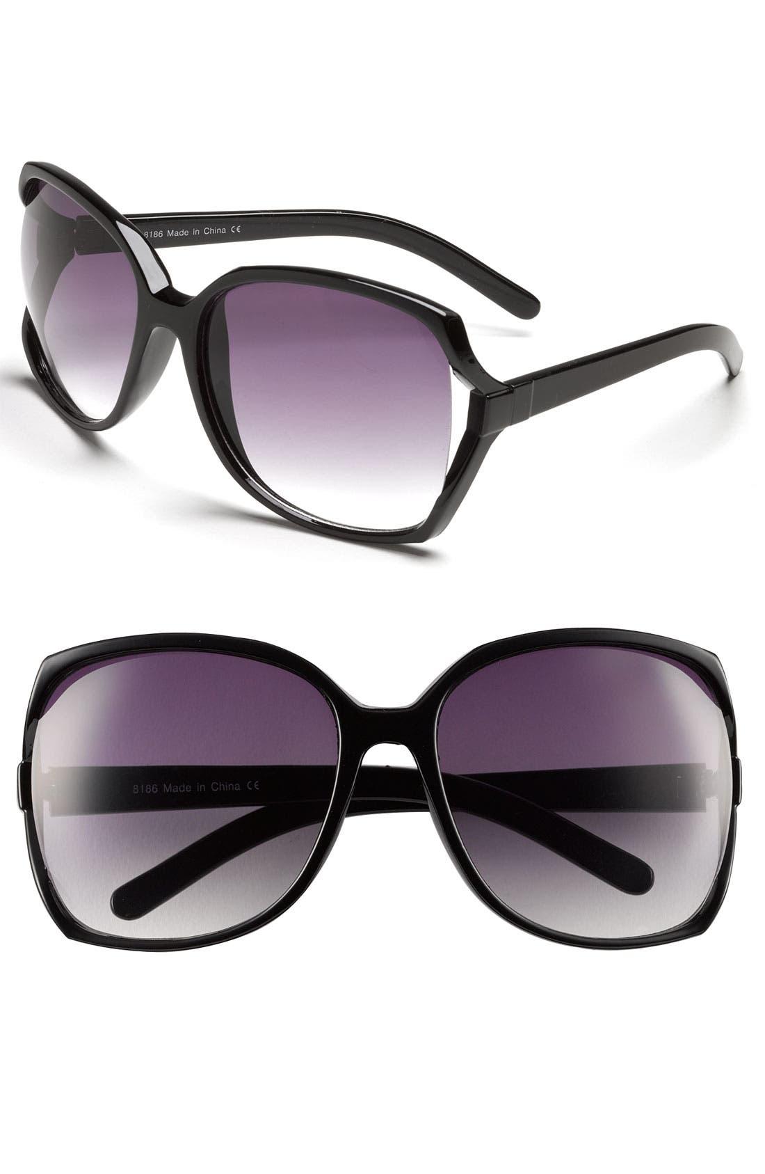 Alternate Image 1 Selected - KW 'Nicole' Oversized Frame Sunglasses (Juniors)