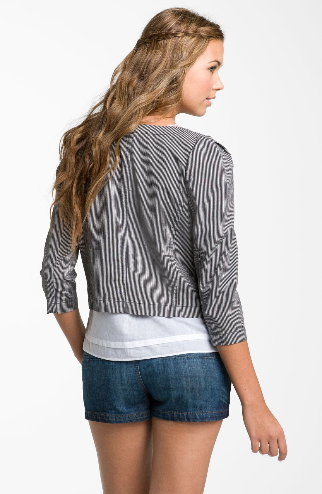 Railroad Stripe Crop Blazer,                             Alternate thumbnail 2, color,                             Cream- Bone/ Grey- Ebony
