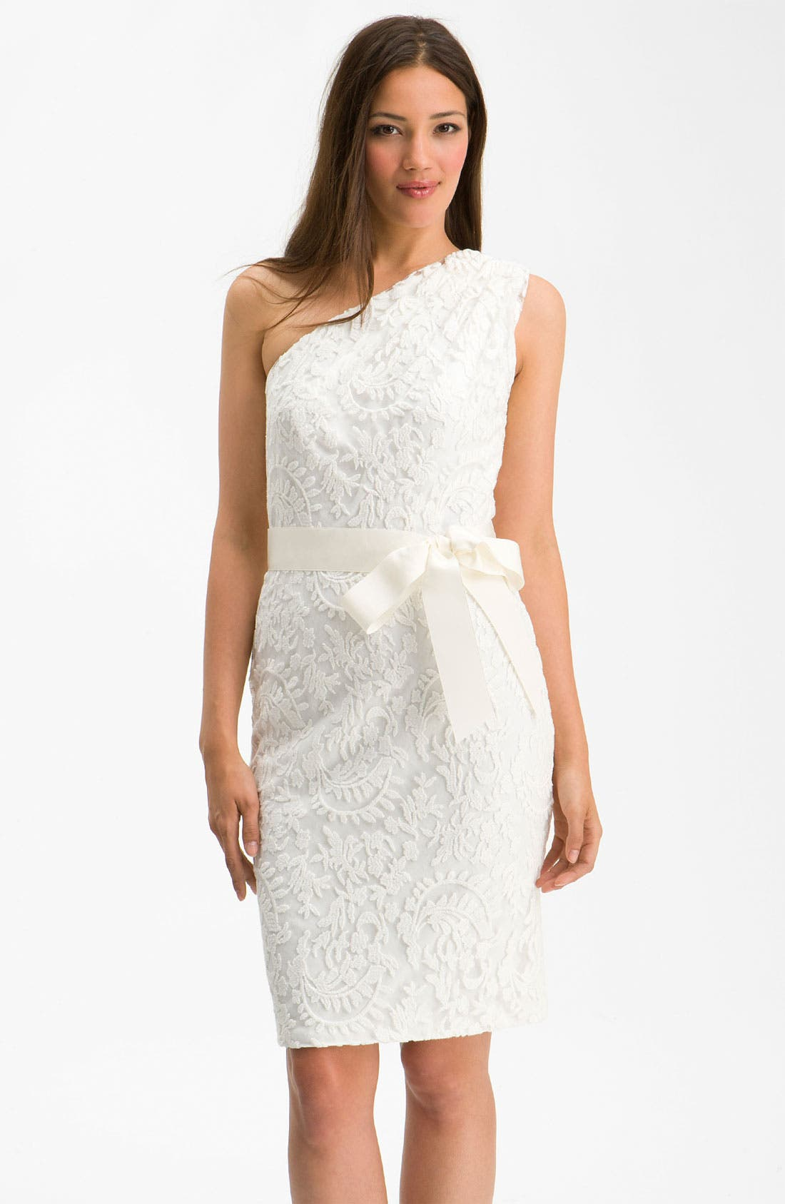 One Shoulder Lace Overlay Sheath Dress,                         Main,                         color, Ivory