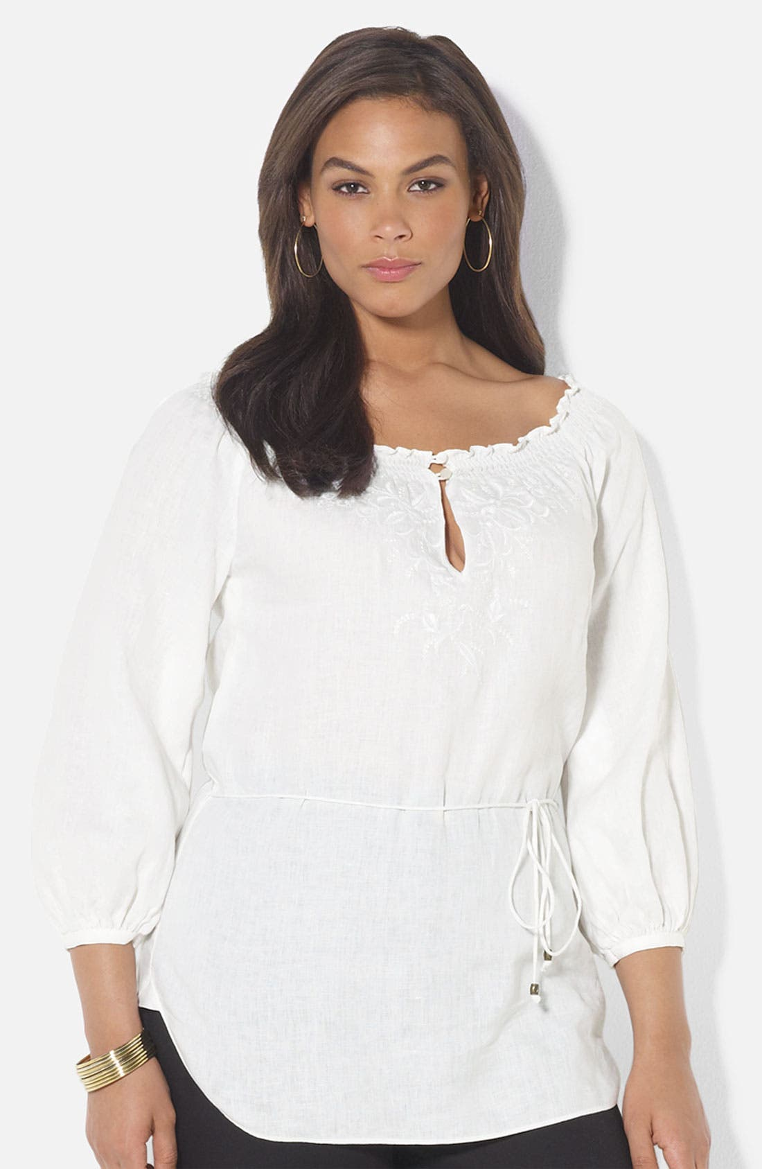 Main Image - Lauren Ralph Lauren Embroidered Linen Tunic (Plus)