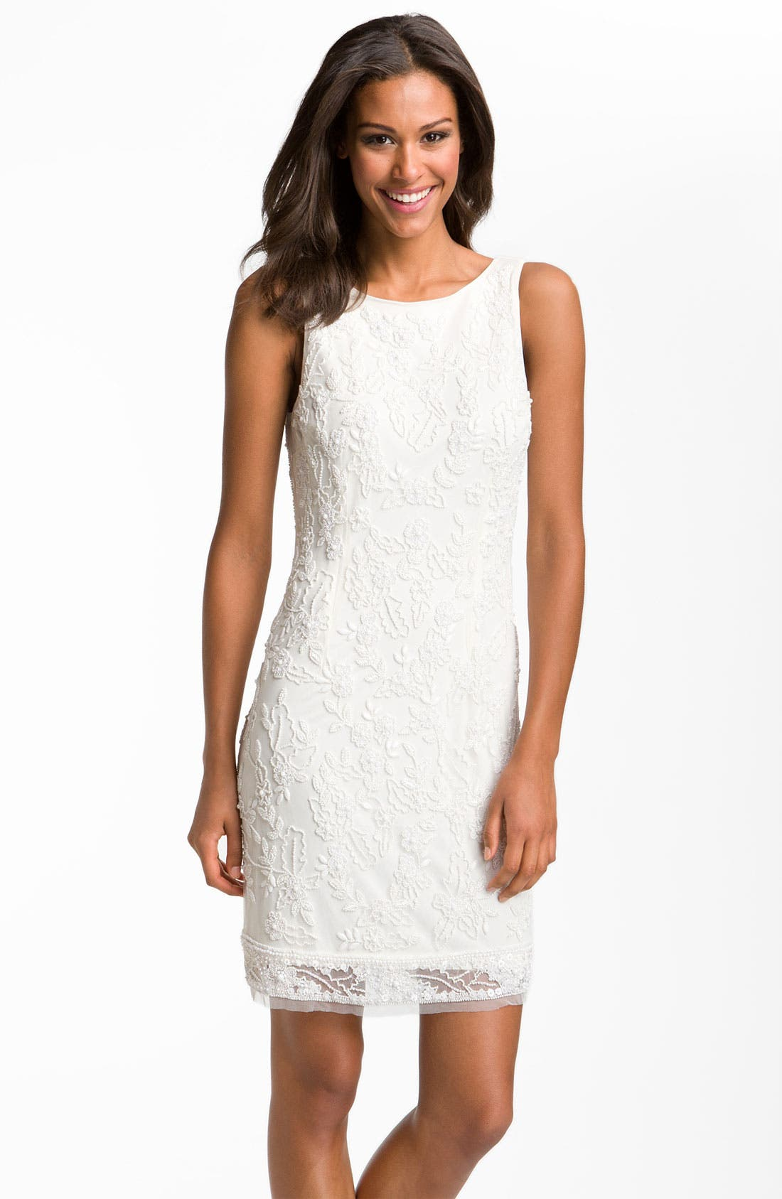 Alternate Image 1 Selected - Aidan Mattox Sleeveless V-Back Beaded Sheath Dress