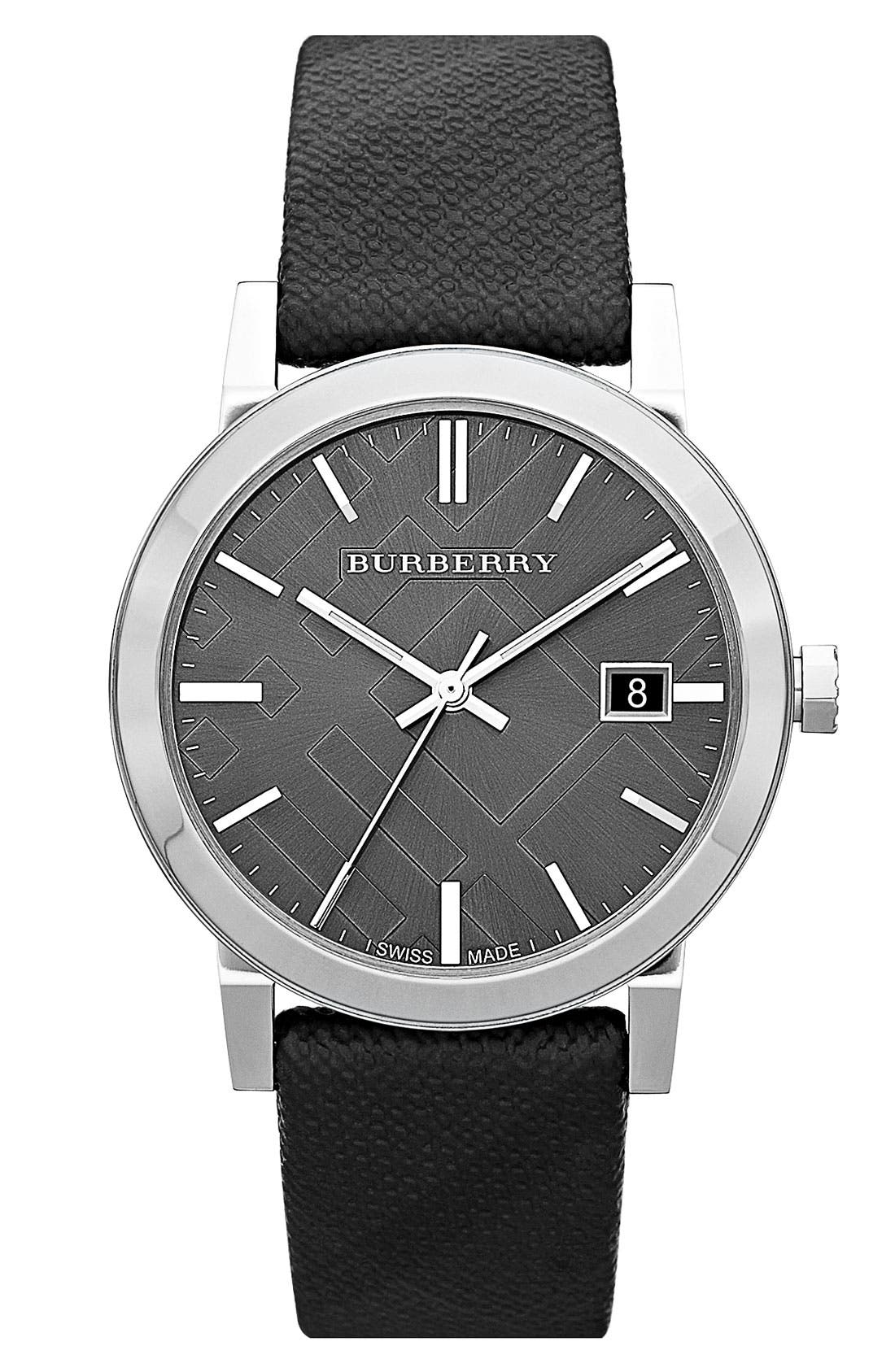 Main Image - Burberry Large Check Stamped Round Dial Watch