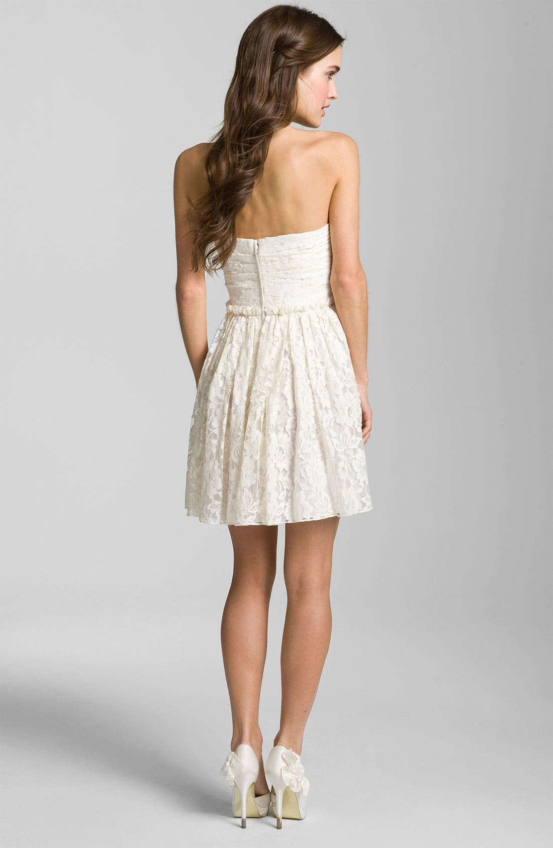 Sweetheart Lace Dress,                             Alternate thumbnail 2, color,                             Ivory