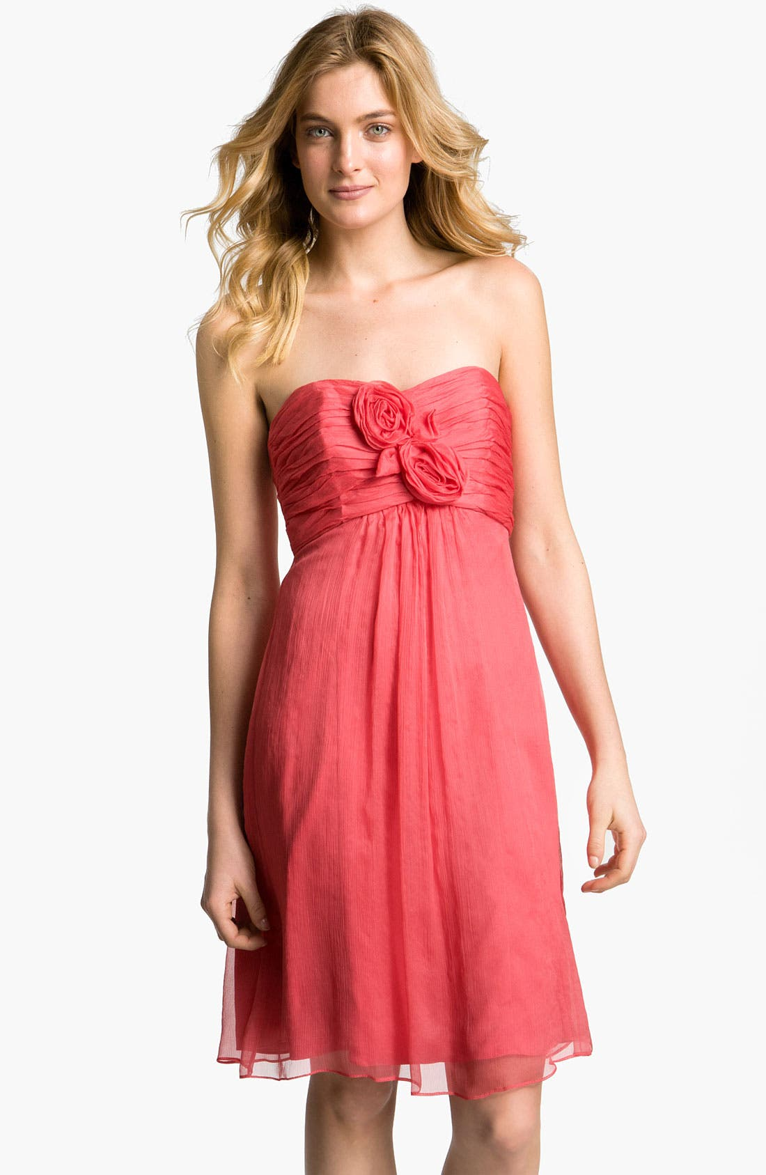 Main Image - Amsale Strapless Rosette Detail Silk Chiffon Dress