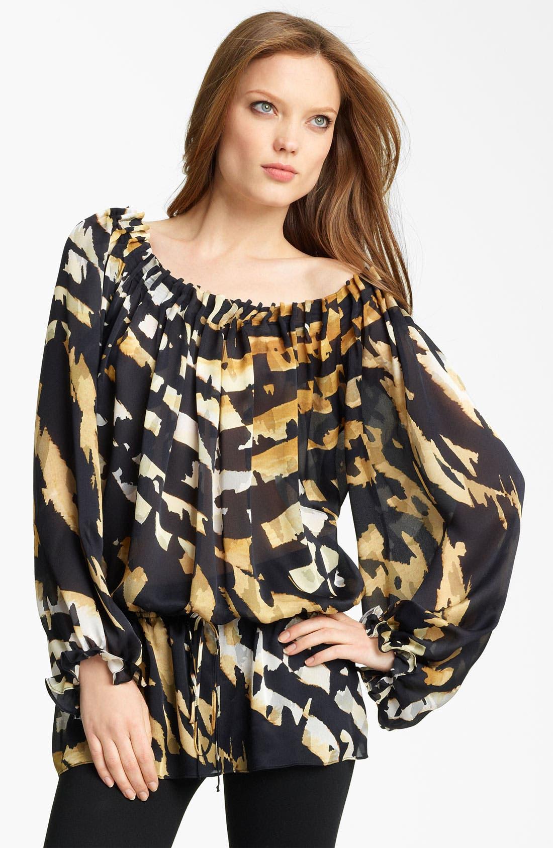 Animal Print Silk Blouse,                         Main,                         color, Black