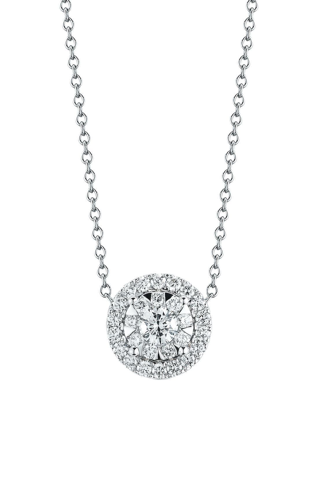 'Sunburst' Pendant Necklace,                         Main,                         color, White Gold