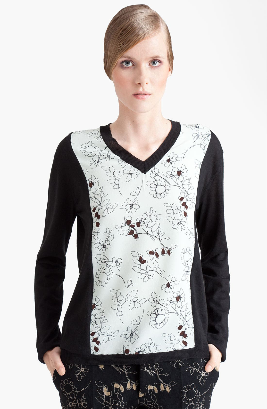 Alternate Image 1 Selected - Marni Floral Print Panel Sweater