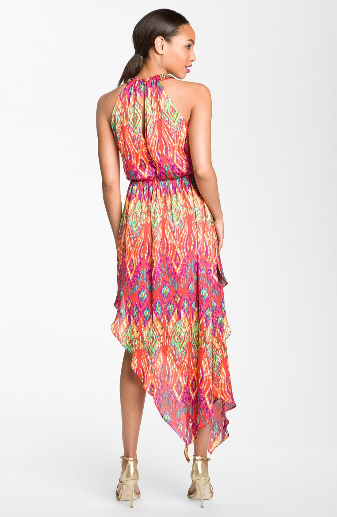 Alternate Image 2  - Laundry by Shelli Segal Asymmetrical Satin Halter Dress