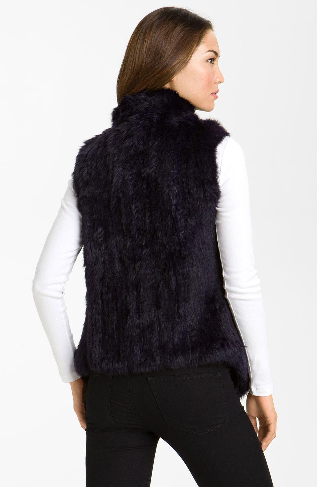 Alternate Image 2  - bebe Drape Front Rabbit Fur Vest