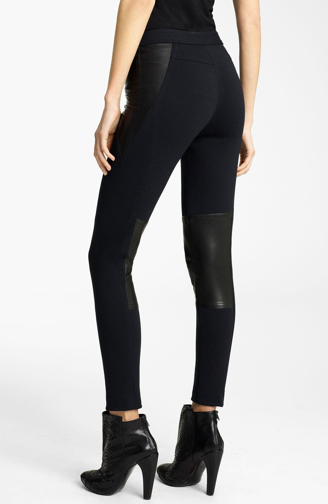 Alternate Image 2  - Yigal Azrouël Leather Panel Ponte Leggings