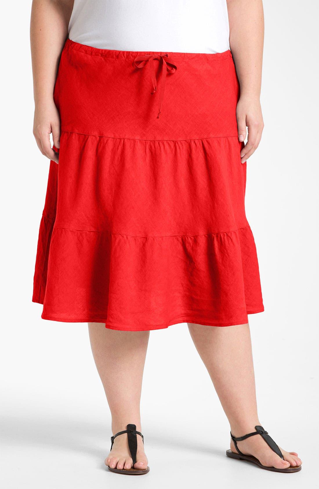 Main Image - Allen Allen Tiered Linen Skirt (Plus)