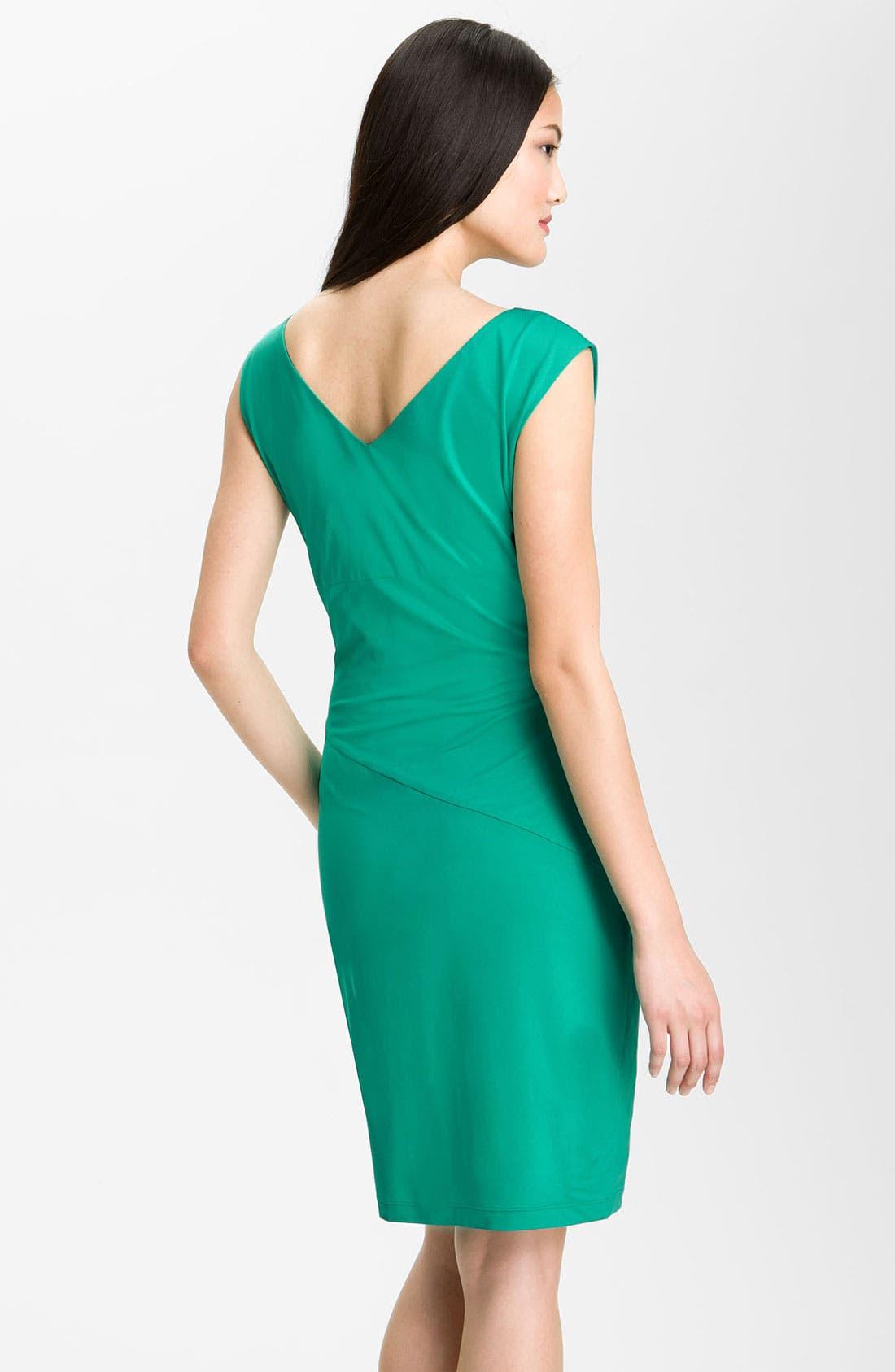 Alternate Image 2  - Donna Morgan Cap Sleeve Stretch Jersey Sheath Dress