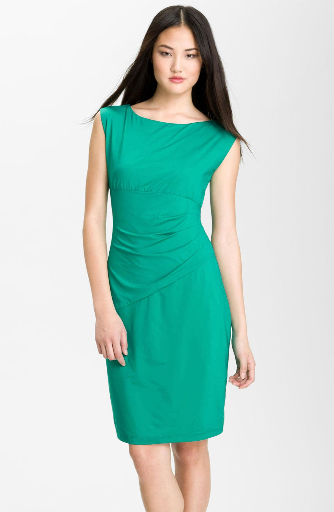 Main Image - Donna Morgan Cap Sleeve Stretch Jersey Sheath Dress