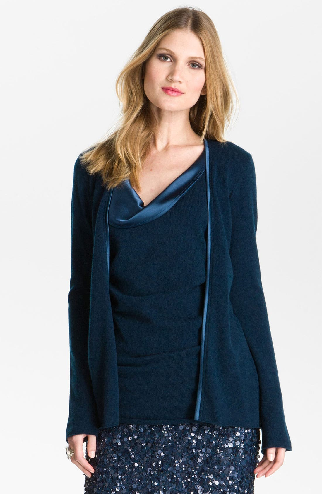 Alternate Image 1 Selected - St. John Collection Satin Trim Cashmere Cardigan