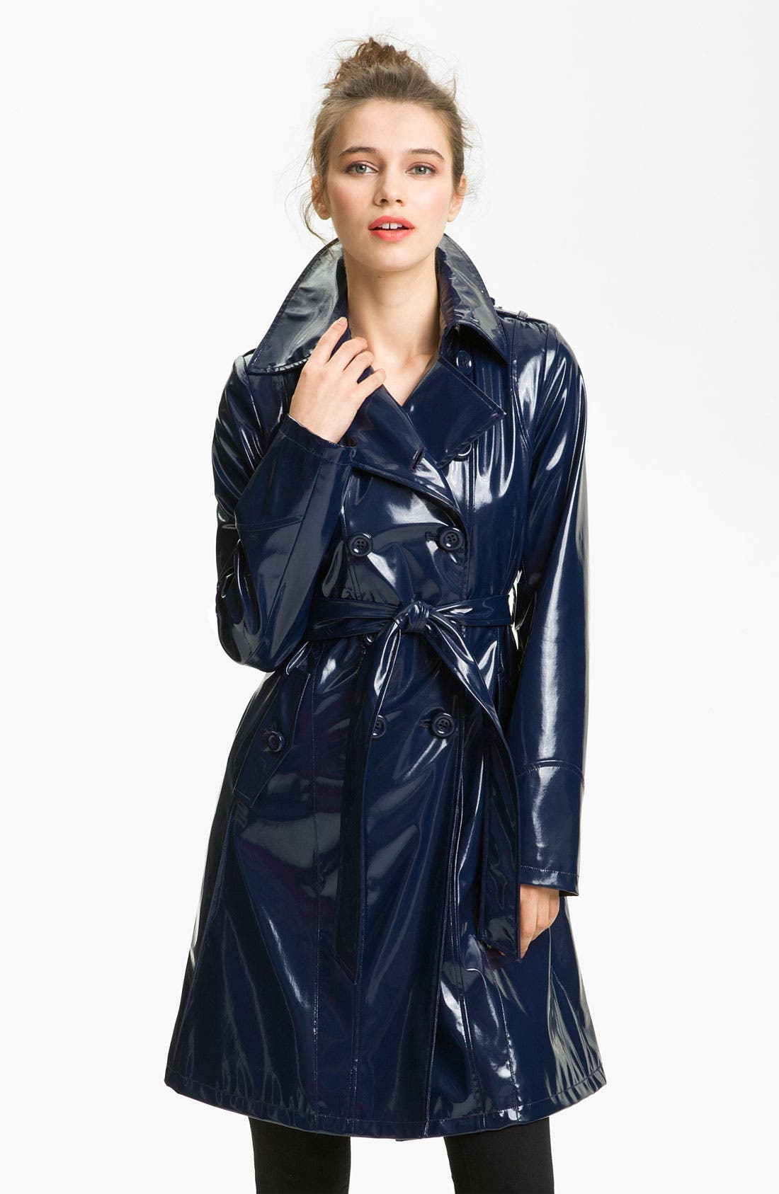 Alternate Image 1 Selected - Via Spiga Double Breasted Patent Rain Slicker