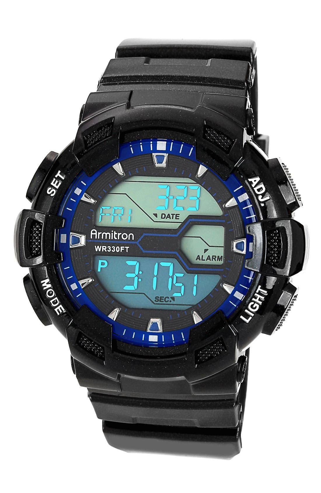 Alternate Image 1 Selected - Armitron Round Digital Resin Watch, 49mm