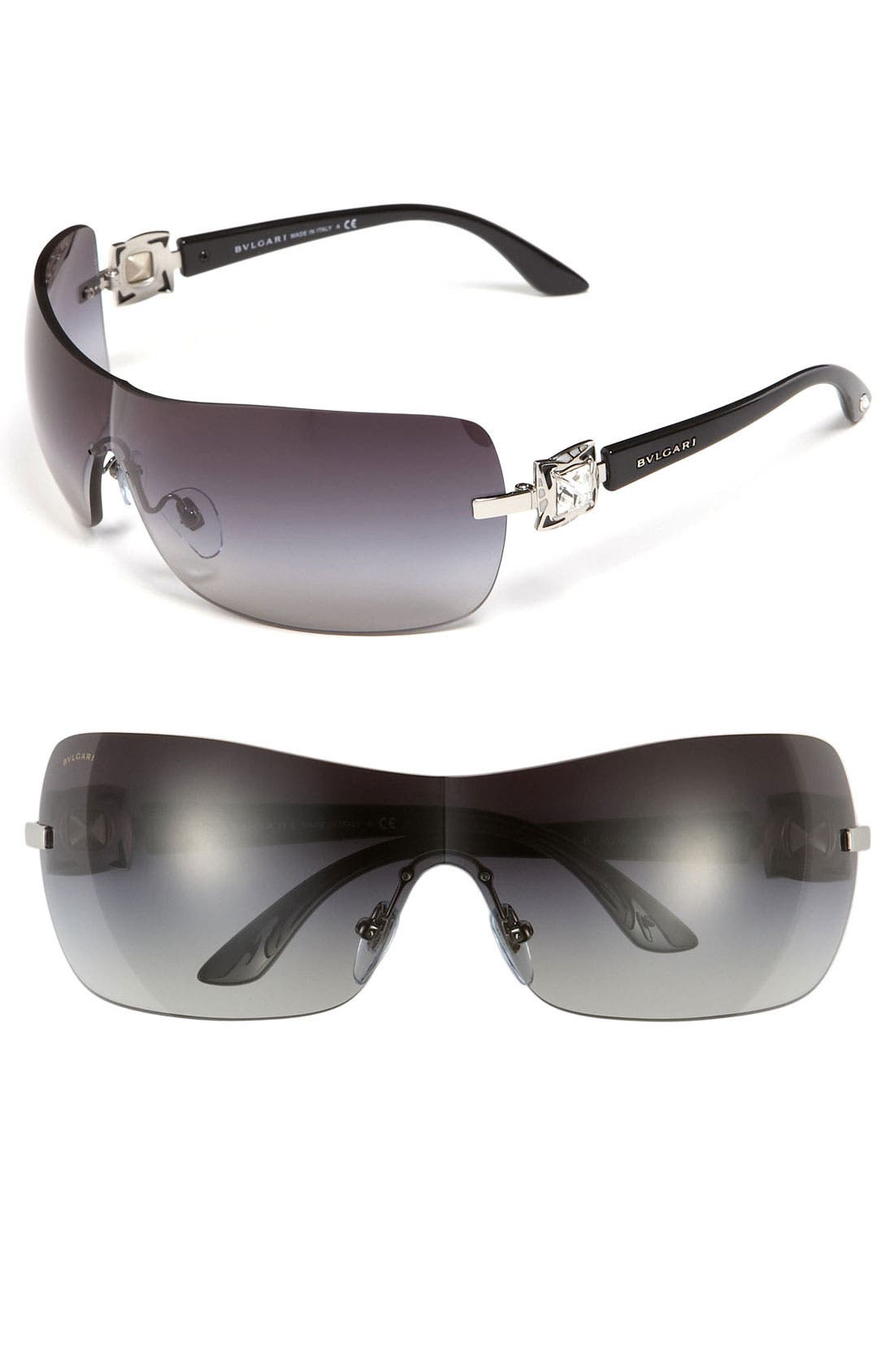 Alternate Image 1 Selected - BVLGARI 63mm Swarovski Crystal Shield Sunglasses