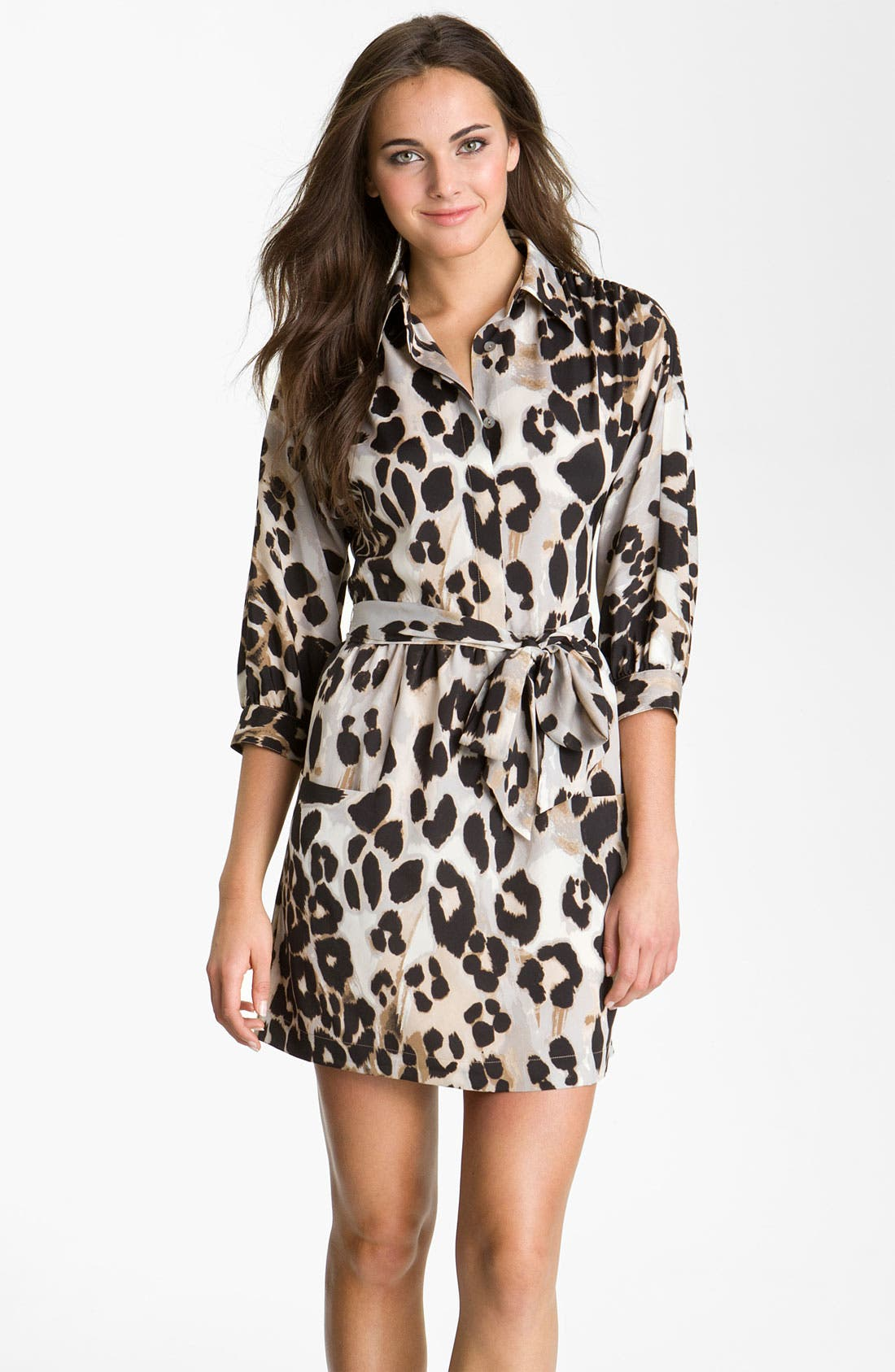 Main Image - Eliza J Animal Print Crêpe de Chine Shirtdress