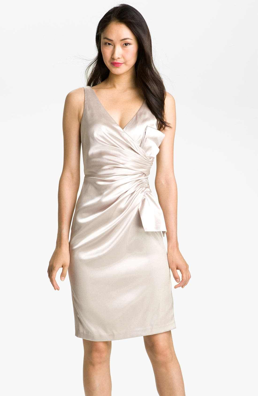 Alternate Image 1 Selected - Maggy London Side Bow Stretch Satin Sheath Dress