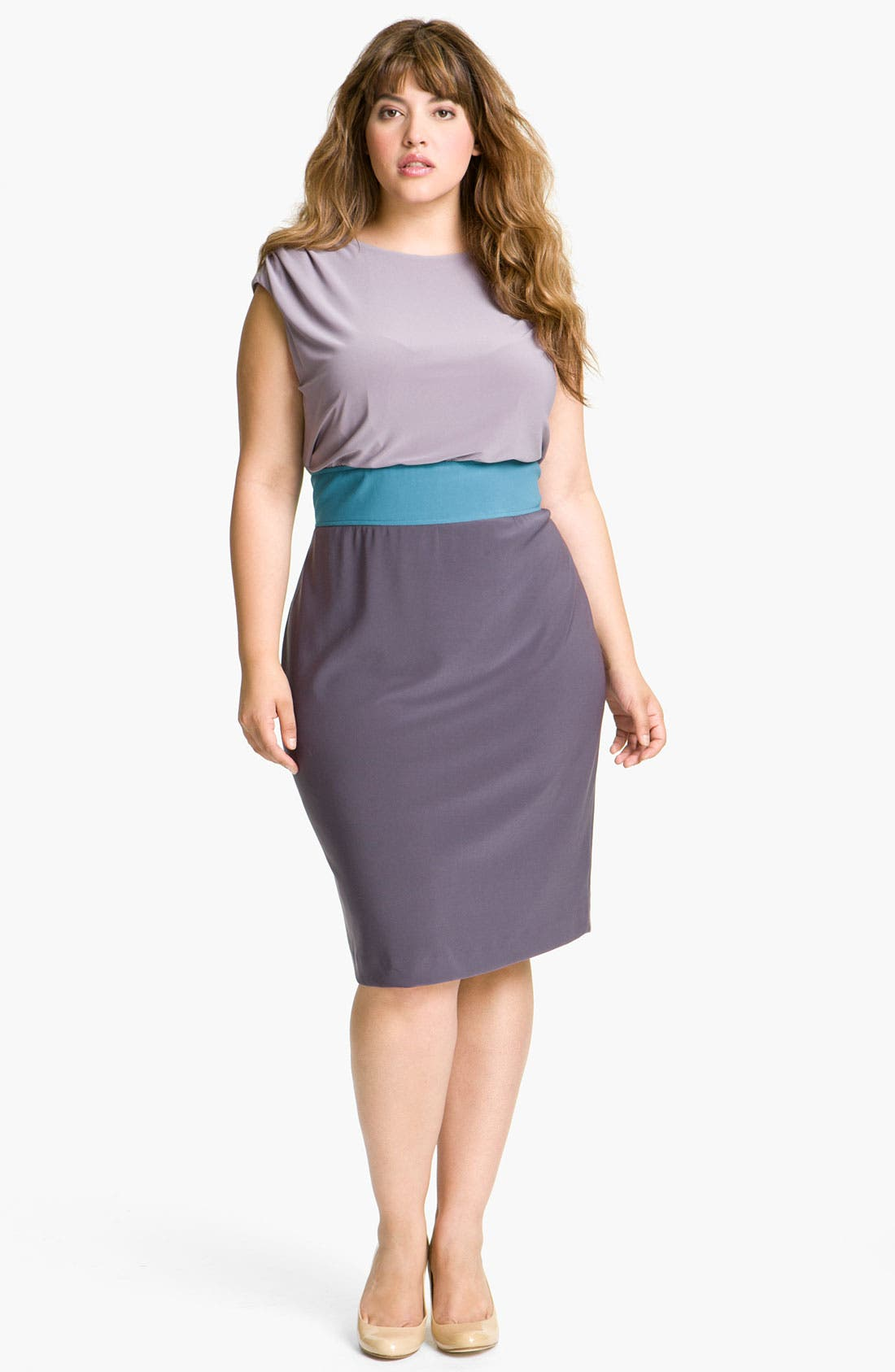 Alternate Image 1 Selected - Adrianna Papell Colorblock Blouson Sheath Dress (Plus)
