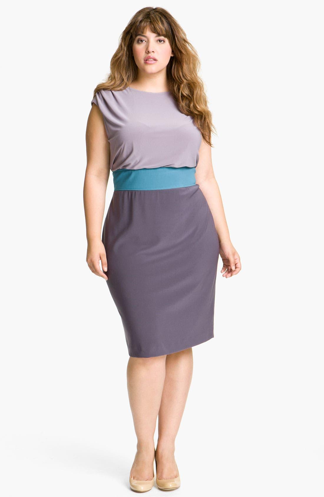 Main Image - Adrianna Papell Colorblock Blouson Sheath Dress (Plus)